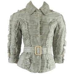 Burberry Gray Shutter Pleat Silk Jacket - 36