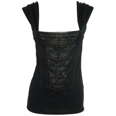 Valentino Black Silk Knit Top with Beading and Lace - 44