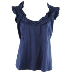 Valentino Navy Cotton Sleeveless Ruffle - 8