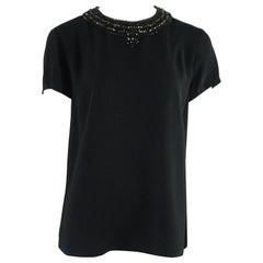 Ralph Lauren Black Label Black Short Sleeve Top with Beadwork - 10