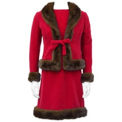 1960's Nina Ricci Haute Couture Red Wool Ensemble with Mink Trim