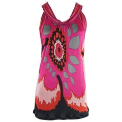 M Missoni Pink and Red Print Jersey and Cotton Knit Top - 6