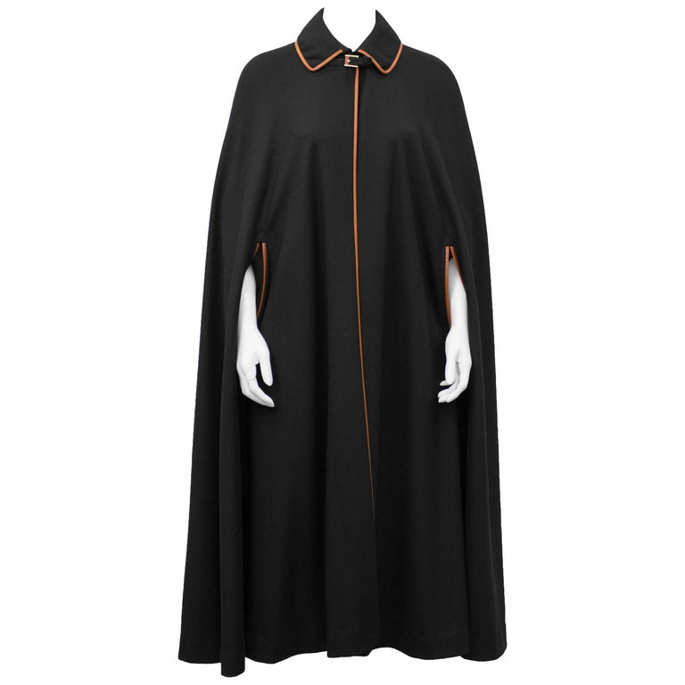 1970's Leather Trimmed Black Wool Cape and Skirt Ensemble