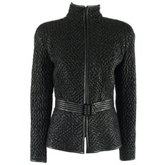 Valentino Black Ruched Leather Jacket with Belt - M - 1990s