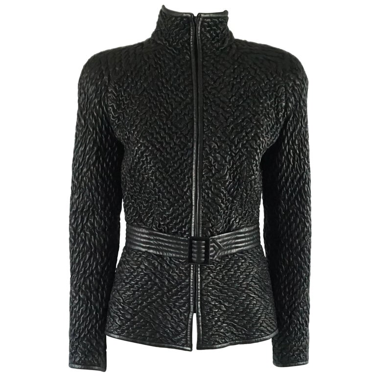 Valentino Black Ruched Leather Jacket with Belt - M - 1990s  For Sale