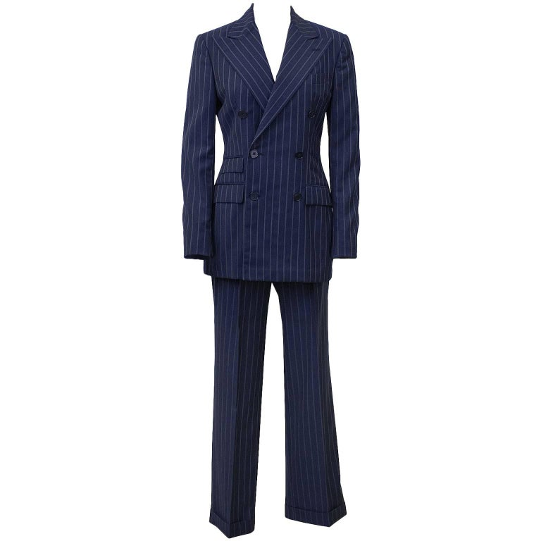 1990's Ralph Lauren Navy Pin Stripe Double Breasted Suit  For Sale