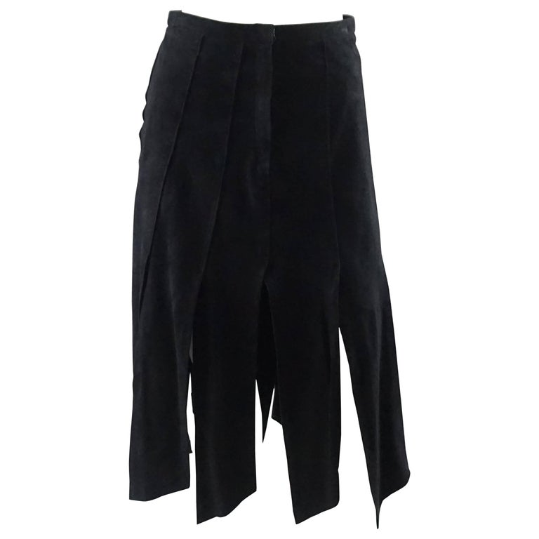 Vintage Black Suede Car Wash Pleat Skirt - M