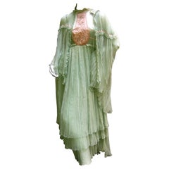 Bill Gibb Silk Chiffon Ensemble. Early 1970's.