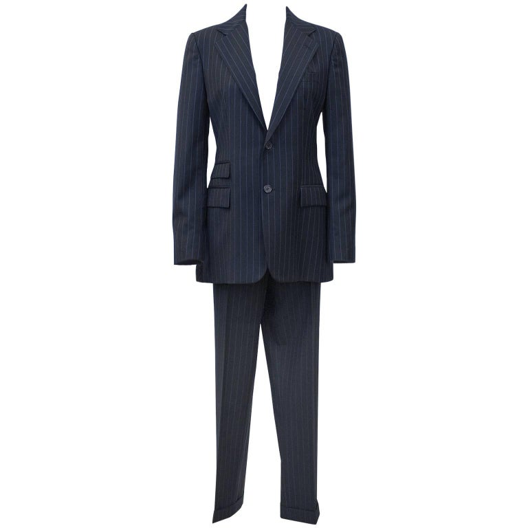 1990's Ralph Lauren Navy Blue Pin Stripe Suit