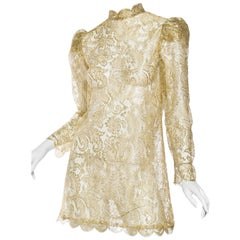 Gucci Style Vintage Gold Lace Dress