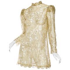 Gucci Style Vintage Gold Lace Dress