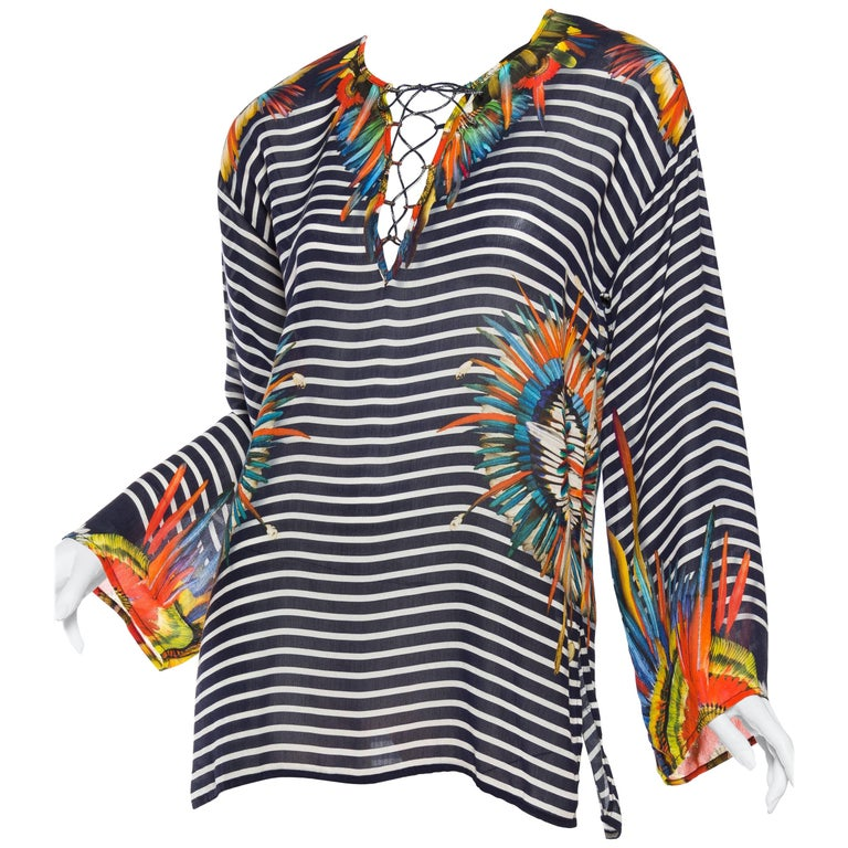 Jean Paul Gaultier Tropical Parrot Feather Sailor Top