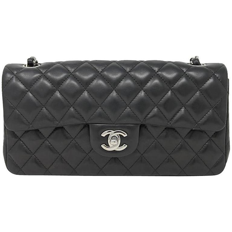 d5b3df51d7c254 Chanel Black Lambskin Quilted Classic Flap Bag with Dust bag and Receipt  For Sale