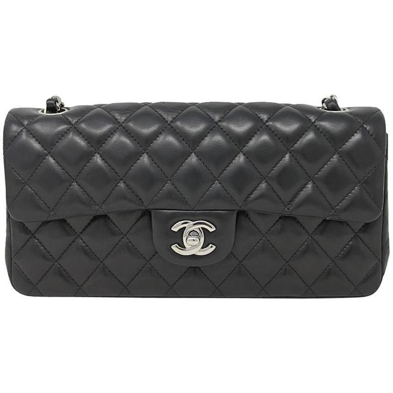 Chanel Black Lambskin Quilted Classic Flap Bag with Dust bag and Receipt 1