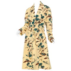 1940s / 1950s Mens Hawaiian Surfer Beach Print Robe