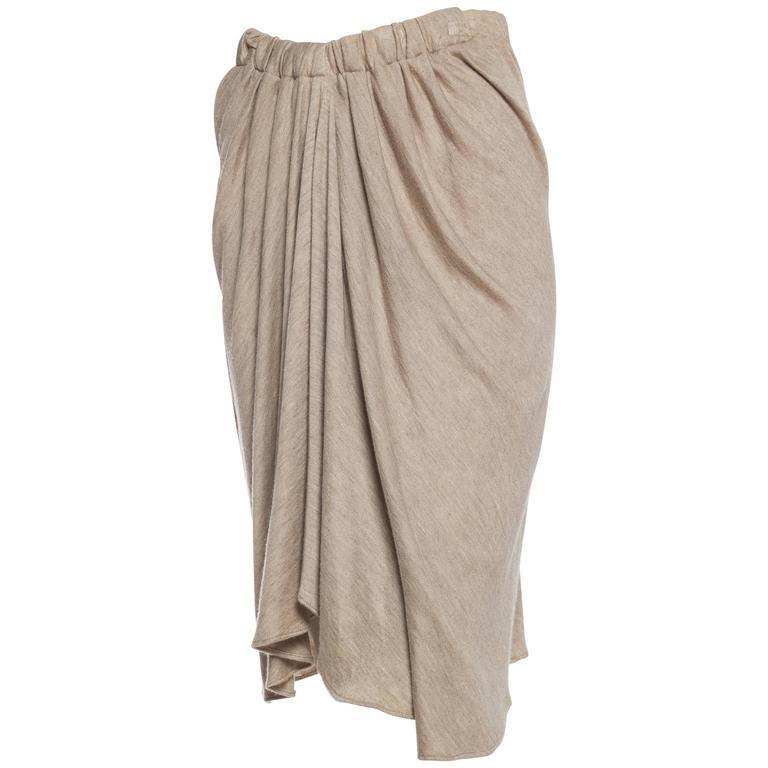 Donna Karan Draped Cashmere Skirt For Sale