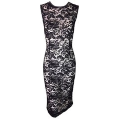 C. 1997 Dolce & Gabbana Sheer Black Lace & Gray Bodycon 2-Dress Ensemble