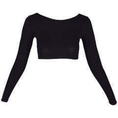 Dolce & Gabbana Black Cropped Stretch Bodycon Crop Top, 1980s