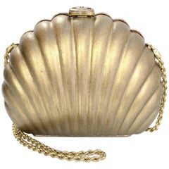 Chanel Gold Leather Seashell Clutch/ Evening Bag