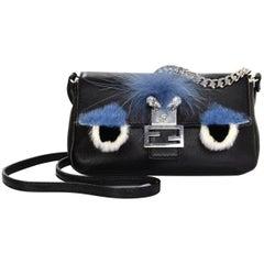 Fendi Black Leather & Blue Fur Micro Buggie Baguette Crossbody Bag