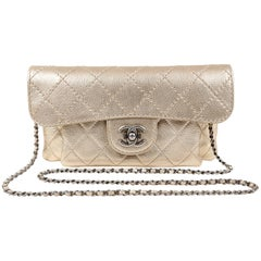 Chanel Metallic Gold Leather Cross Body Clutch Bag