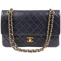 Chanel Navy Lambskin Classic Double Flap Bag- GHW