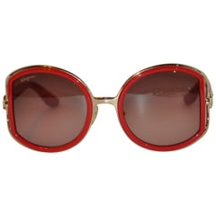 Ferragamo Gold Hardware with Thick Italian Red Lucite Sunglasses