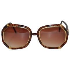 Ted Lapidus Thick Tortoise Shell & Gold hardware Accent Sunglasses