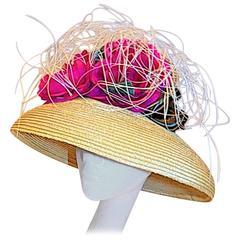 """Suzanne Couture Summer Straw """"Flower Basket"""" Hat"""