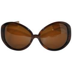 Kieselstein Cord Huge Tortoise Shell & Embossed Croc Calfskin Sunglasses