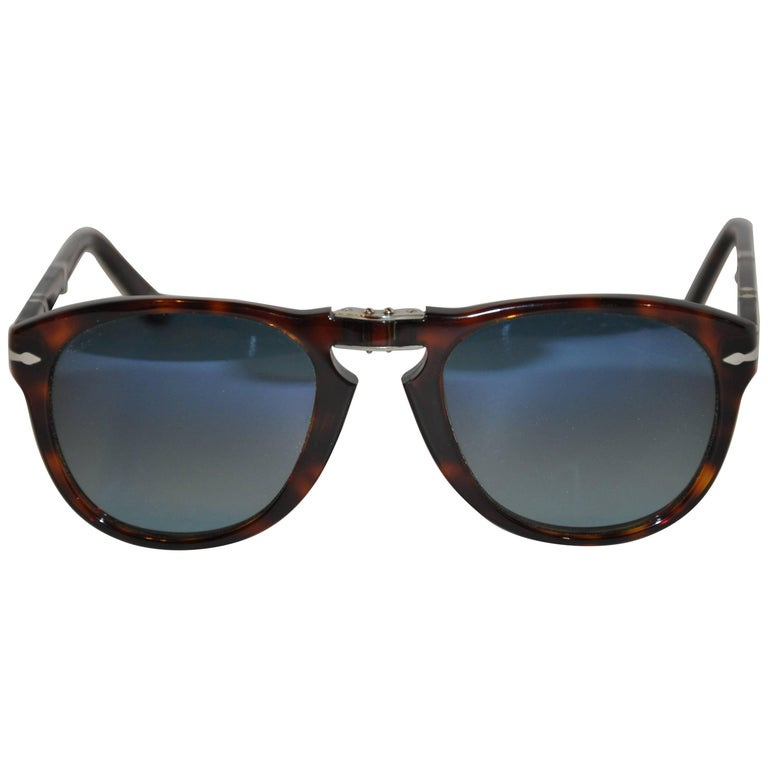 Persol Tortoise Shell Accented with Silver Hardware Fold-Up Shades with Case