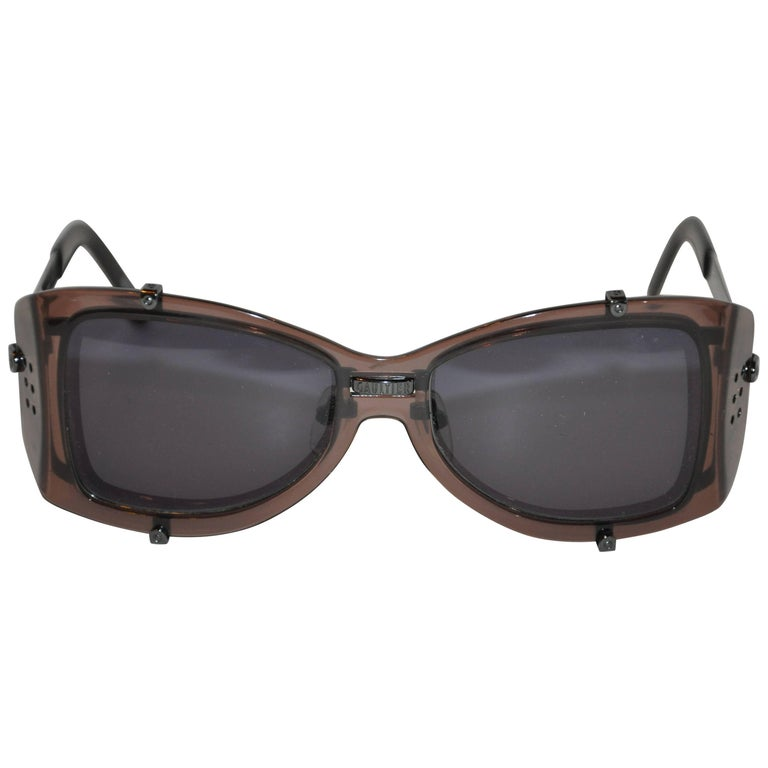 Jean Paul Gaultier Smoked Hardware & Smoked Lucite Studded Sunglasses
