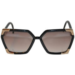 Ted Lapidus Thick Black Lucite & Engraved Gold Hardware Sunglasses