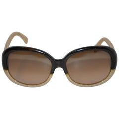 Chanel Signature Black & Bamboo Pattern Lucite Sunglasses