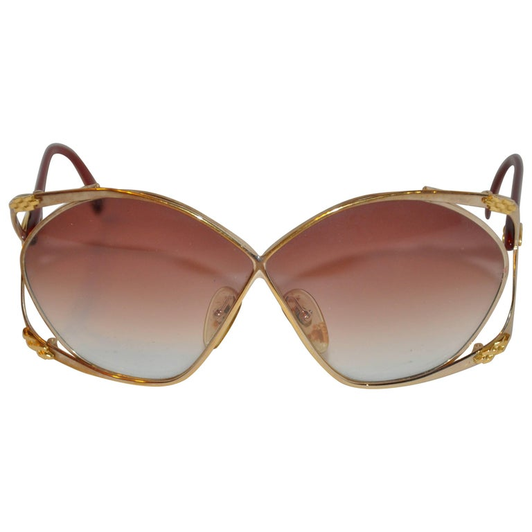 "Christian Dior Huge ""Chain-Link"" Accent Gold Hardware Frame Sunglasses"