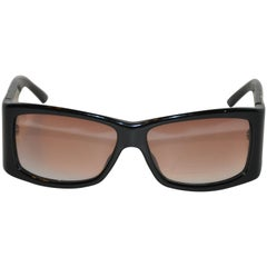 """Christian Dior """"Limited Edition"""" Thick Black Lucite with Rhinestones Sunglasses"""