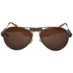 Chloe Polished Gold Hardware Frame Accented with Lambskin Sunglasses