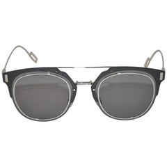 Christian Dior Homme Polished Silver Hardware with Smoked Lucite Sunglasses