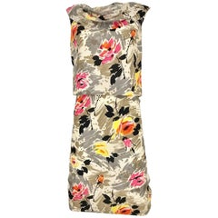 1950s Water Color Floral Print Sleeveles Silk 50s  Dress