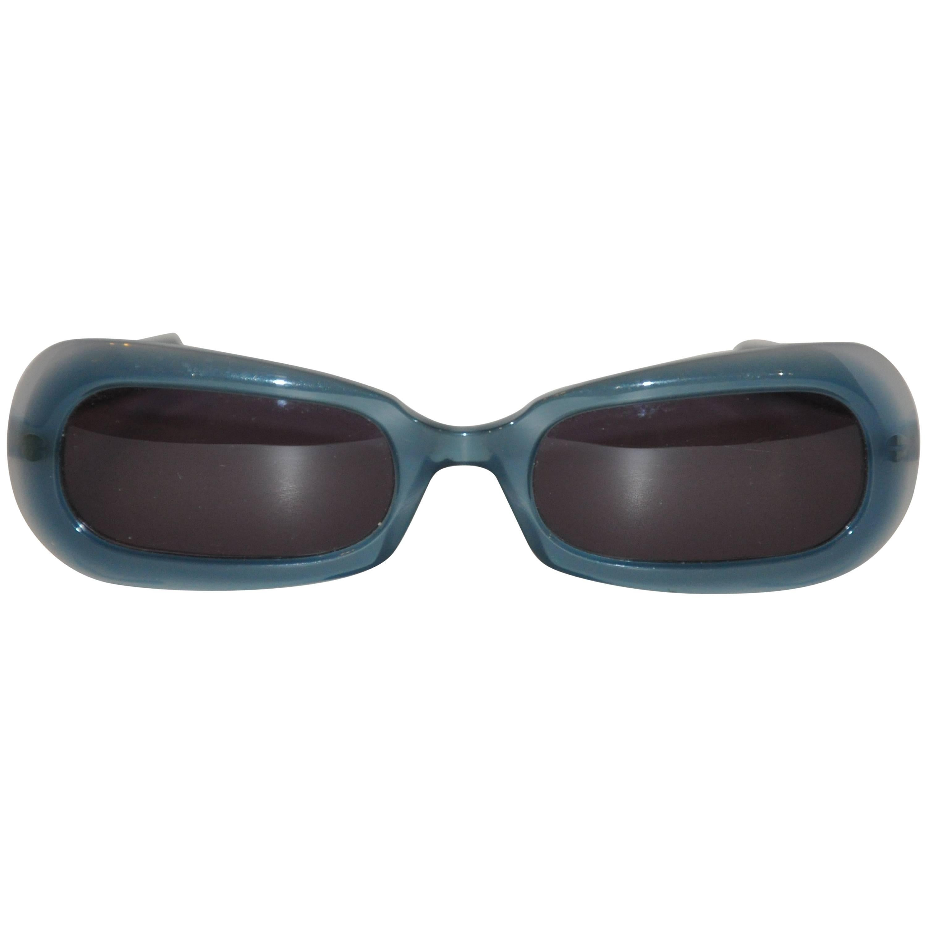 """Thierry Mugler """"Shades of Turquoise"""" Lucite Sunglasses"""
