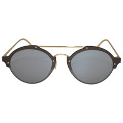 Illesteva Polished Gold Hardware Hand-Made Frame with Studs Sunglasses