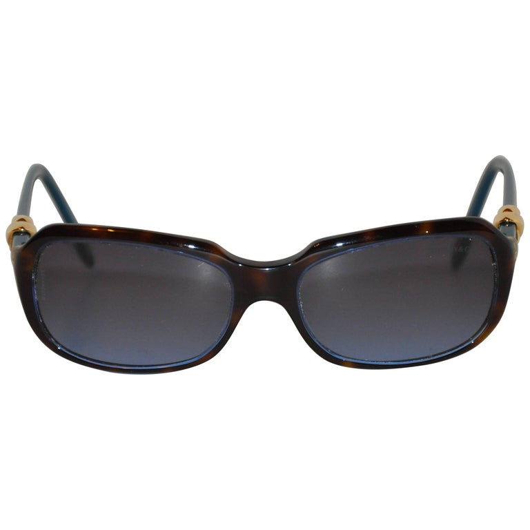 """Tiffany & Co Gold """"Love"""" Hardware Accent Turquoise Arms Sunglasses"""