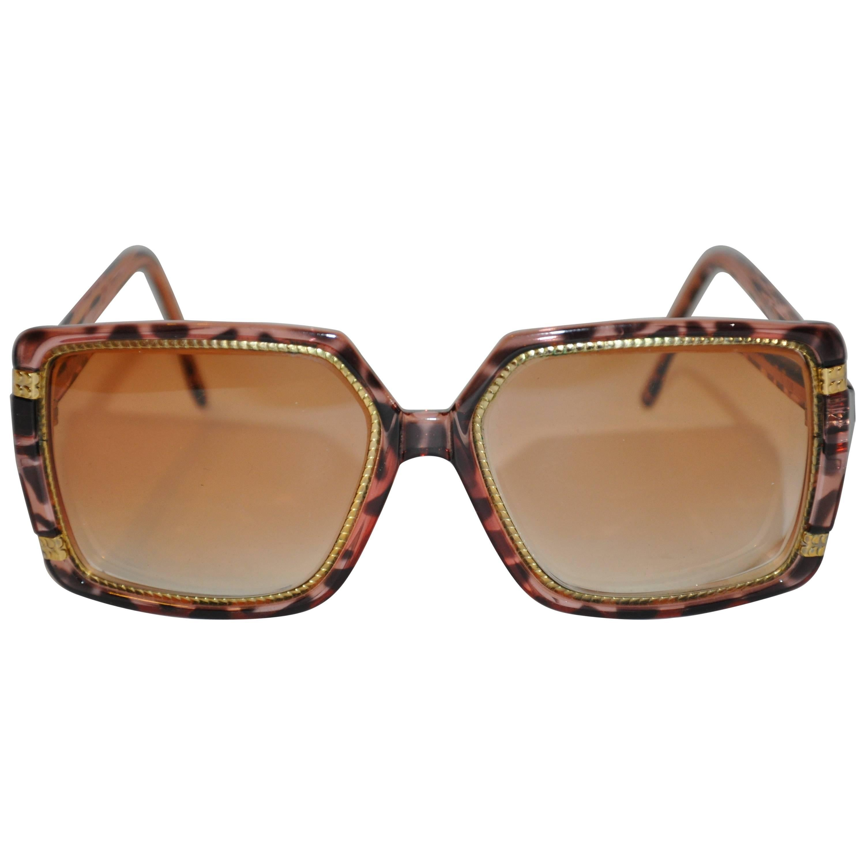 "Ted Lapidus Gilded Gold ""Snake"" hardware & Clear Tortoise Shell Lucite Glasses"