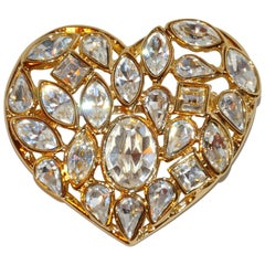 "Yves Saint Laurent ""Hearts to Hearts"" Huge Multi-Rhinestone Brooch"