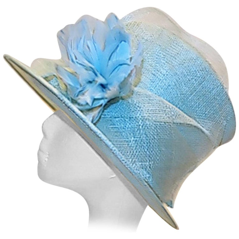 Light Blue Modern Couture summer Hat with flower For Sale
