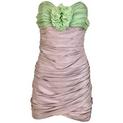 Vintage ANGELO TARLAZZI Strapless Lilac and Green Silk Mini Cocktail 80s Dress