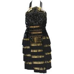New Gucci $12500 Fringe Fully Embellished Open Back Cocktail Dress  40 - 4