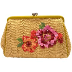 COLLECTIBLE Christian Dior Raffia Leather Clutch / LIKE NEW