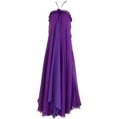 1970s JEAN PATOU Purple Silk Print Multi Layer Halter Maxi 70s Vintage Dress