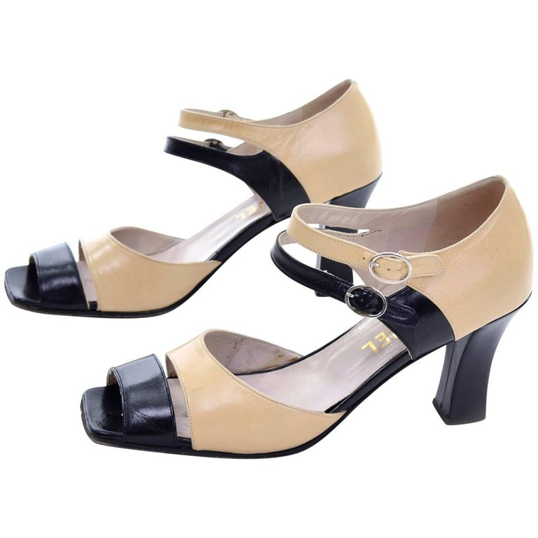 Chanel Vintage Peep Toe Double Strap Two Tone Beige and Black Shoes 37.5